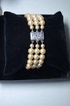 Bracelet with 69 fresh water pearls.