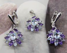 925 silver finery with amethyst and blue topaz