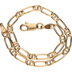 Yellow gold figarucci link bracelet in 14 kt - 20 cm