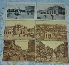 Lot of 94 period postcards (early 20th Century) of 4 Italian cities – Milan, Rome, Messina and Reggio Calabria