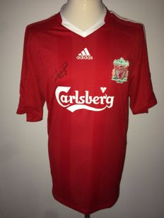 Dirk Kuyt, Liverpool FC. Original signed by Kuyt Liverpool home shirt 08/09.