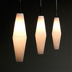Unknown designer - Three opal frosted pendant lights