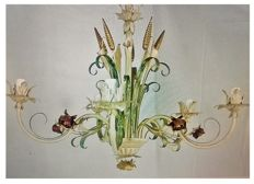 Florentine style, hand painted brass chandelier - Florence, Italy, 21st C