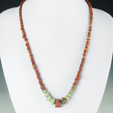 Necklace with Roman glass, faience and amber beads - 53 cm
