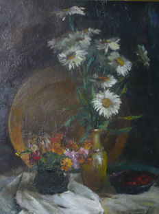 Vladimir Grigorenko (* 1965)- Still Life with Wildflowers and Cherries