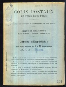 France 1921 - Parcel Post Paris/Paris, complete booklet of 100 stamps and counterfoils - Maury no. 91, 1.80 FR blue - Signed Calves with certificate