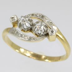 French 'Toi et Moi' diamond ring in 18k bicolor gold - size 53