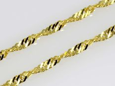 Solid Diamond-Cut Singapore Chain in 18k Yellow Gold