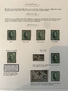 Belgium 1858/1862 - Study of nuances and variations Leopold I, 1 cent, green - OBP 9