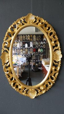 Large Venetian mirror with open-worked ornament - hand gilded - gold