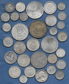 World – lot of various coins 1738/1995 (32 different) – silver.