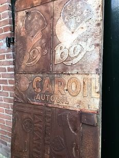 Door panel from Curaçao lined with decorative tin advertising, 1st half 20th century-
