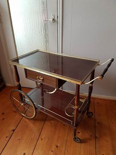 Solid brass trolley with tray and bottle rack