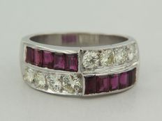 18 kt white gold ring with rubies and brilliant cut diamonds, ring size 17 (53)