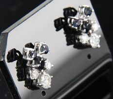 14 kt white gold ear studs set with brilliant cut sapphire and diamond