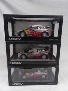 Norev - Scale 1/18 - Lot with 3 models: 3 x Citroen DS3 WRC