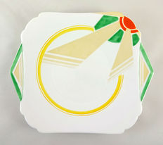 Eric Slater for Shelley Potteries - 'Vogue' shape, 'Sunray' pattern porcelain serving plate and six side plates