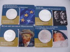 The Netherlands – 5 euro 2003 and 2004 + 10 euro 2002 and 2004 (first 4 coins) in coin cards