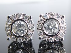 White gold ear studs set with diamonds of 0.56 ct in total ***no reserve***