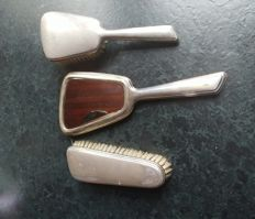 2nd grade content silver hand mirror and matching brushes 1st half 20th century