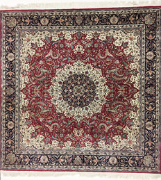 Persian carpet, very fine Isfahan with silk, 254 x 254 cm