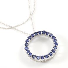 Estate 10kt White Gold Necklace Set with Sapphires