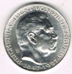 Weimar Republic - Silver Medal 1927 by Karl Goetz on the Occasion of the 80th Anniversary of Paul von Hindenburg