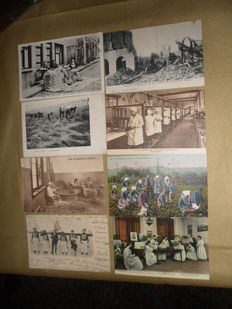 International lot of 70 quality vintage animated picture postcards and photocards with a general theme of 'people at work'.