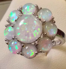 Art Deco silver ring with 9 Welo opals – Approx. 2 ct