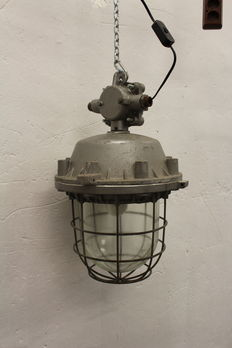 "Unknown designer - XXLarge ""Bully"" cage lamps."