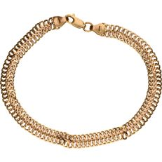 14 kt yellow gold double curb link bracelet in 14 kt - 19 cm
