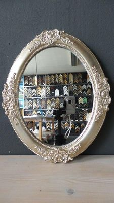 Venetian Oval mirror with ornament - hand-gilded - silver.