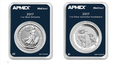 2 piece 1 oz 999 silver coins MintDirect certified quality - 1 oz Kookaburra 2017 + 1 oz Britannia 2017