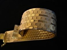 Wide, 18 kt gold plated, women's bracelet.