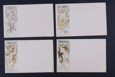 A. Mucha - the seasons - C. 1900 - 4 Original postcards