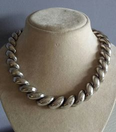 Large sterling silver necklace.