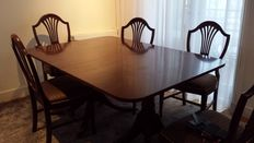 Hollywood Regency Style cherry wood dining room table with six chairs, Southern California reproduction, 1920s