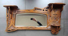 Art Nouveau style mirror in Frisian notch cut, approx. 1920, Friesland
