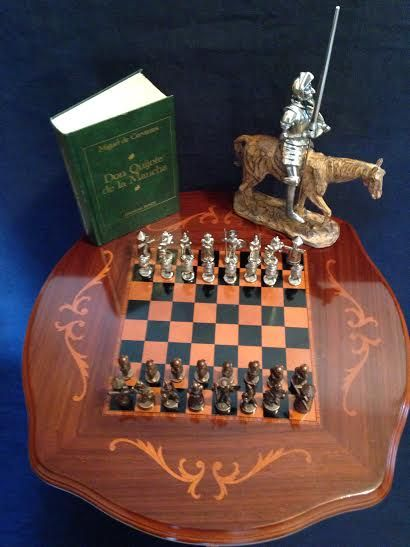 "Ancient chess set ""Don Quixote"" in lemongrass marquetry table, figure and book of his story."