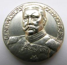 German Empire, First World War - Silver Medal 1914 by Grünthal & Löwental commemorating to the Libaration of the East Prussia (Tannenberg, Ortelsburg)/Generaloberst Paul von Hindenburg