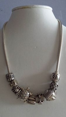 Sterling silver necklace with 9 beads - Biba