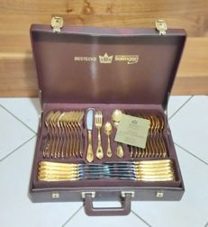 SBS Solingen Germany Nivella 69-piece cutlery case for 12 persons - 23/24 k gold plated.