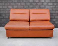 Unknown designer – vintage, cognac leather two-seater