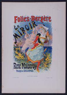 Jules Cheret  - 'Folies Bergeres' original small lithograph poster from the 'Les Affiches Illustrées' series