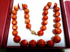18 kt necklace with coral
