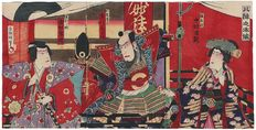 Large original triptych woodcut by Kunisada III (1848 - 1920) - Japan - approx. 1880