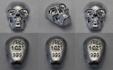 United States - YPS Yeagers Poured Silver - 3 pieces - each 1 oz per 31.1 grams - 999 silver skull - hand cast