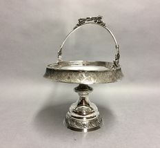 Antique silver plated chocolate dish on high base, W. Hamill & Co, England, ca 1900