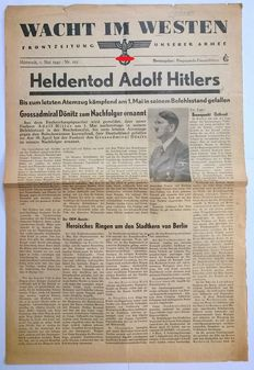 Wacht im Westen - German front newspaper with news of the death of Adolf Hitler on the 2nd of May - 1945