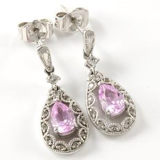 Estate 10kt  White  Gold Earrings Set  With Pink  and White Sapphires